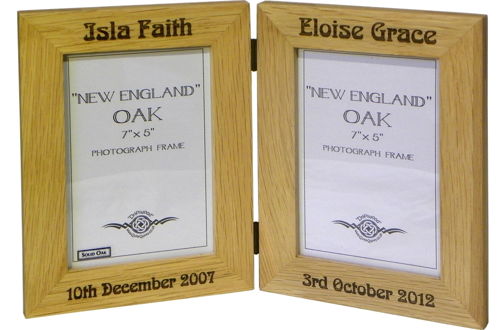 """England"" Folding Oak photo frame double 7"" x 5"""