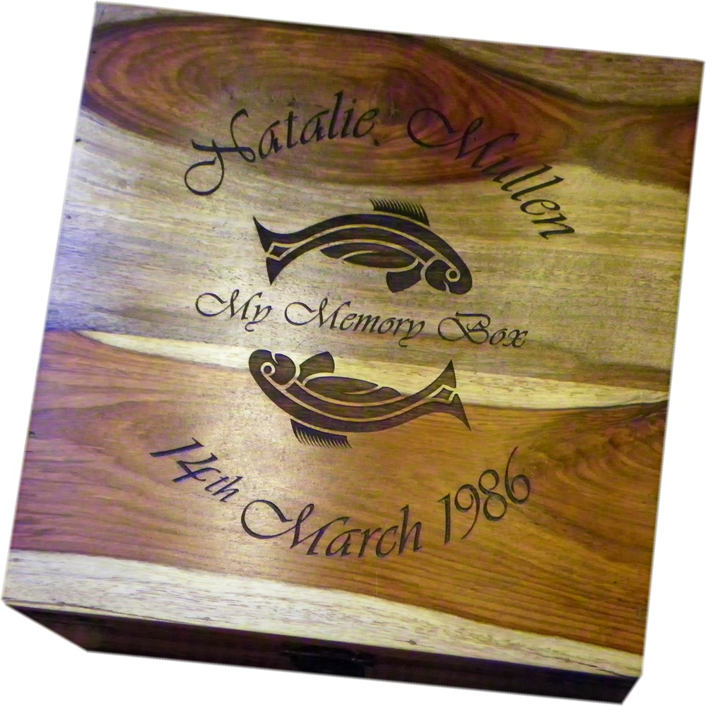 Large Personalised Wooden Keepsake Box