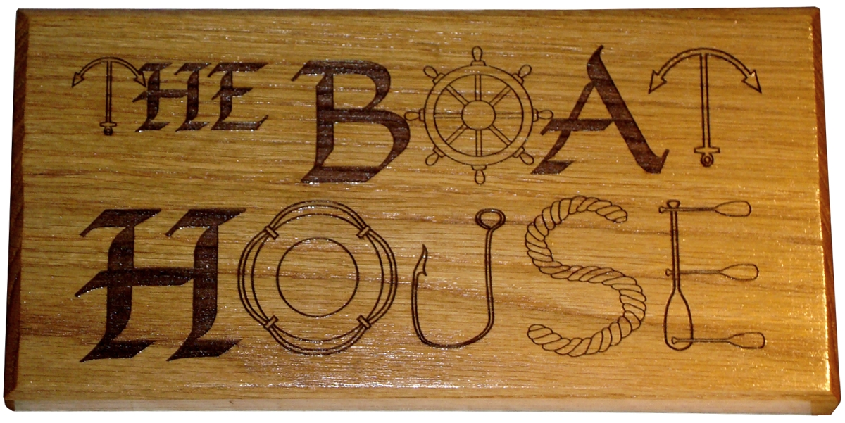 "Solid Oak House Sign 12"" x 6"""