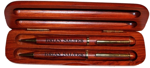 Rosewood Classic Double Pen Box & Pens