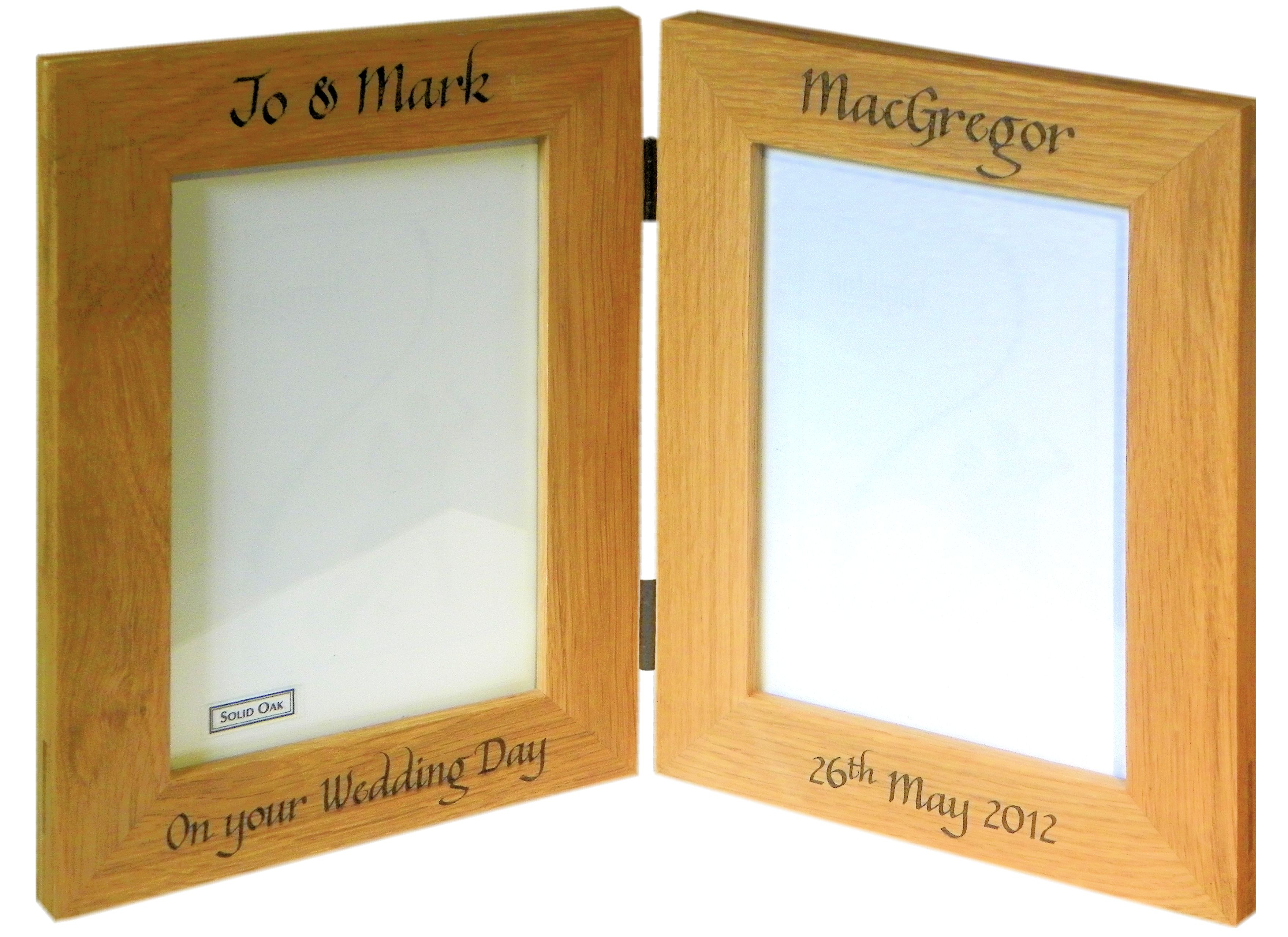 """England"" Folding Oak photo frame double 6"" x 4"""
