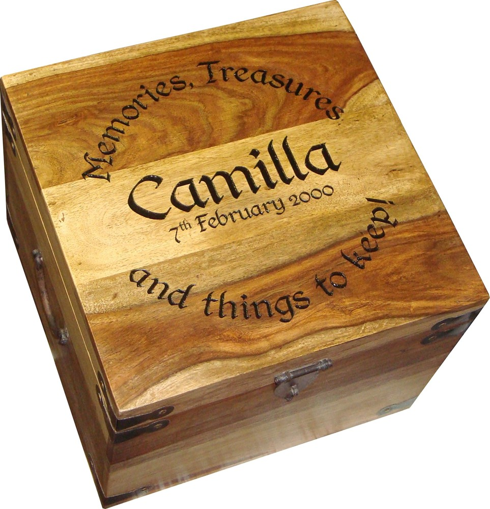 "Large Personalised Memory Box 13"" x 13"" x 10"" - Click Image to Close"