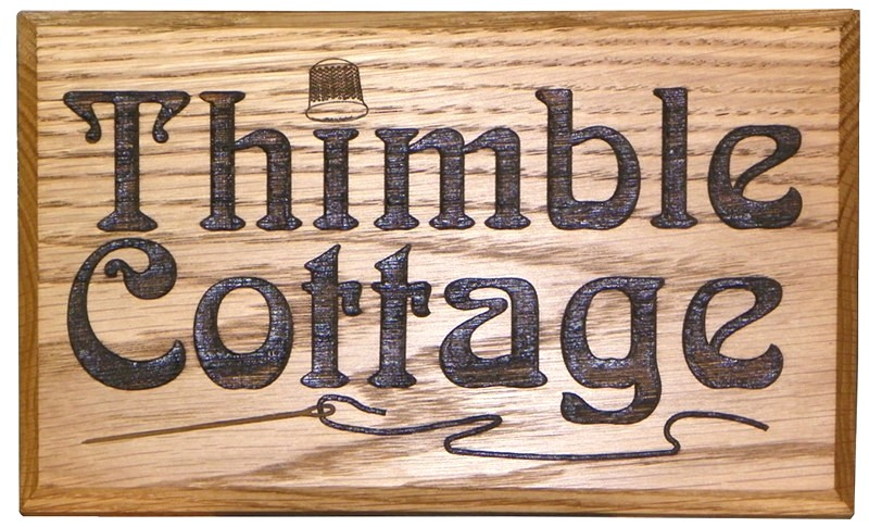 "Solid Oak House Sign 10"" x 6"""