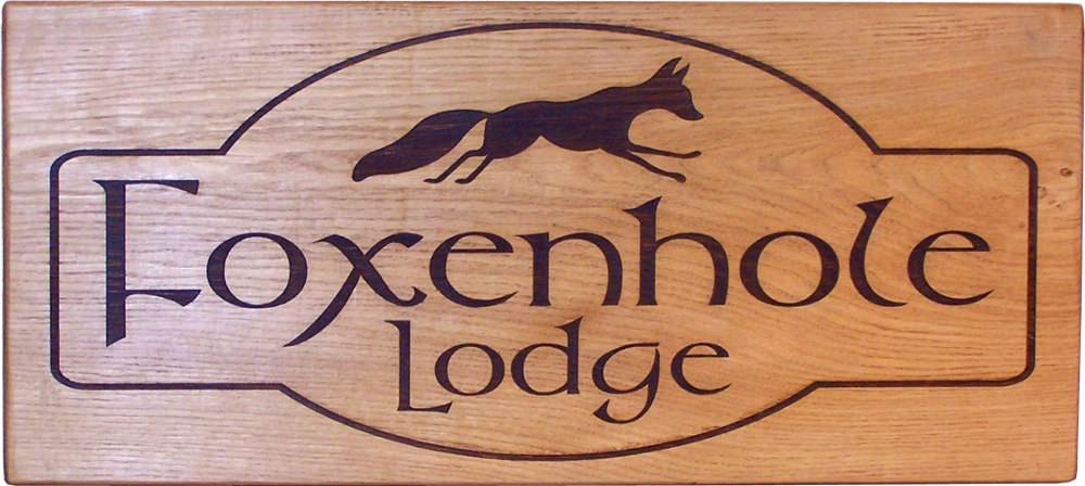 "Solid Oak House Sign 30"" x 12"""